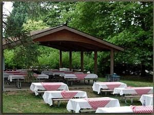 decorating a picnic shelter for a wedding   Picnic Shelter