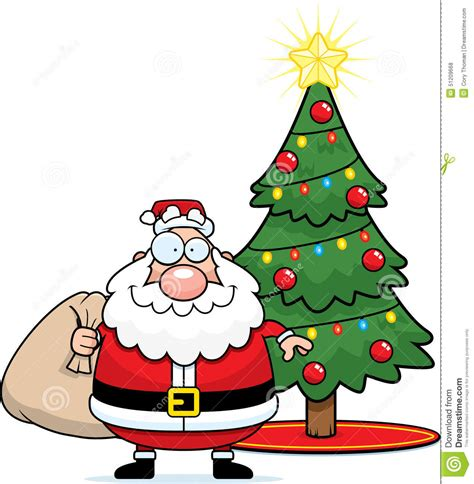 cartoon santa claus christmas tree stock vector image
