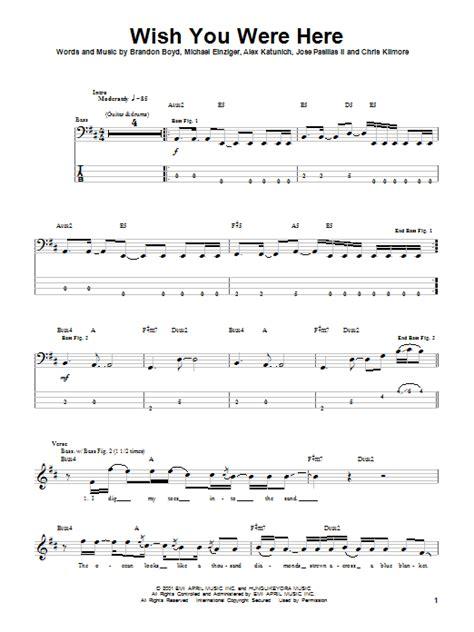 tutorial piano wish you were here wish you were here bass guitar tab by incubus bass guitar
