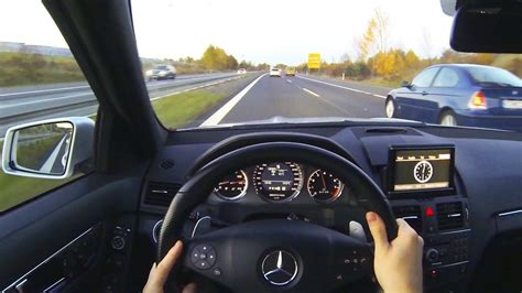 mercedes driver mercedes c63 amg onboard drive on autobahn highway