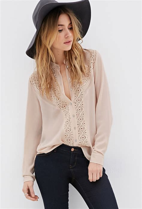Forever Blouse forever 21 crochet paneled button blouse in pink lyst