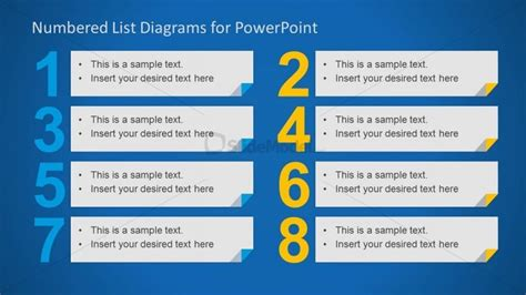 list layout elements 8 elements in a numbered list for powerpoint slidemodel