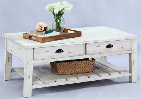 Distressed White Coffee Table Willow Distressed White Rectangular Cocktail Table T410 01 Progressive