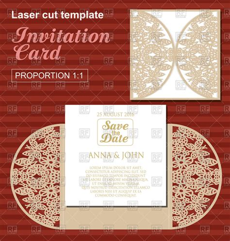 card die cut template wedding invitation card designs vector free