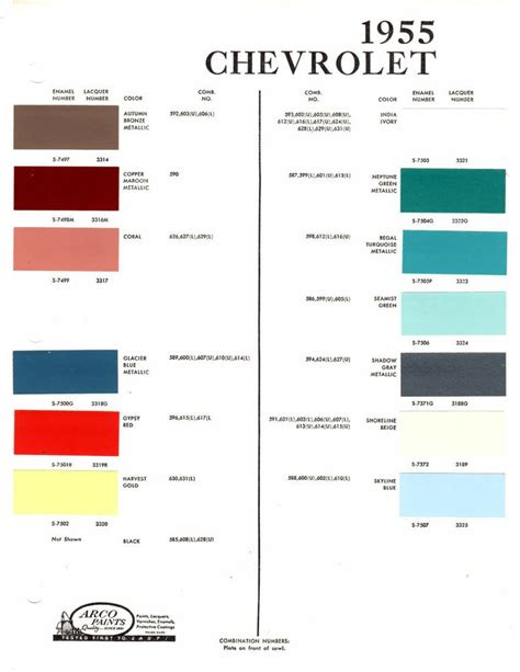 25 best images about paint charts on paint colors chevy and bel air