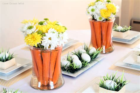 Spring Inspired Easter Tablescape And Carrot Centerpiece Easter Arrangements Centerpieces