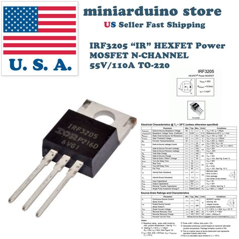 transistor mosfet irf3205 10pcs irf3205 ir mosfet n channel 55v 110a to 220 hexfet power transistor miniarduino