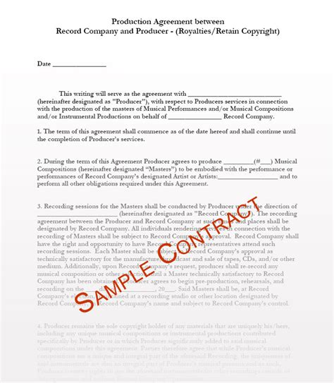 investment in record company project contract musiccontracts com