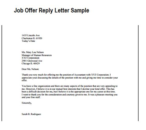 appointment letter response offer reply letter writing professional letters