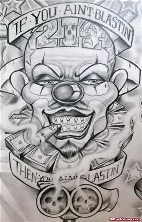 unique grey ink smoking clown gangsta tattoo tattoo
