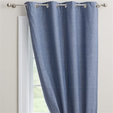 blue chambray curtains chambray blackout drape pbteen