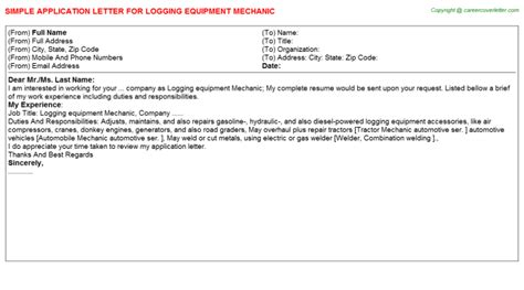 Forklift Mechanic Cover Letter by Logging Application Letters