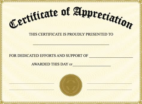 Certificate Of Recognition Word Template certificate of appreciation templates pdf word get
