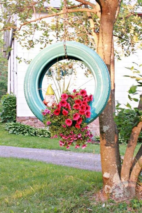 Tires As Planters by Hanging Tire Planter Outside