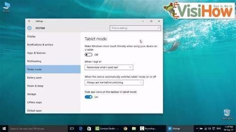 tutorial windows 10 tablet make windows 10 start in tablet mode visihow