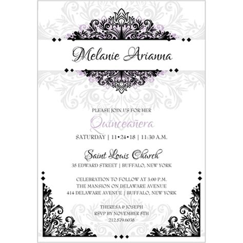 quince invitation templates quinceanera wording for invitations in images