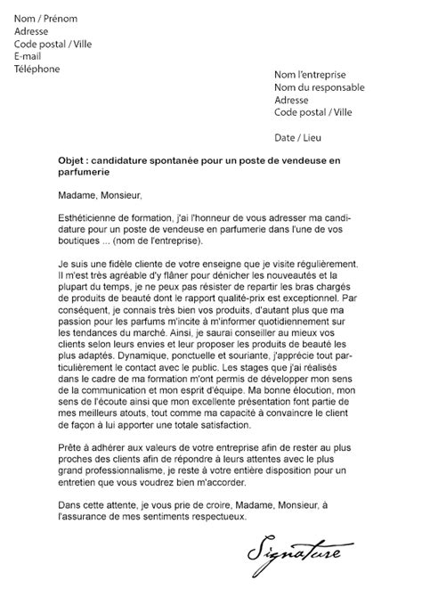 Lettre De Motivation Vendeuse Nocibe Lettre De Motivation Vendeuse En Parfumerie Mod 232 Le De Lettre
