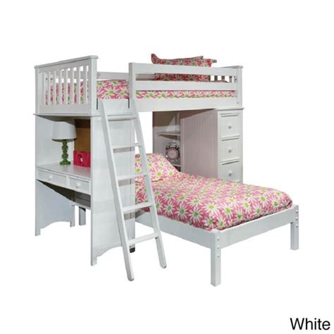 classic loft platform bed set with built in chest