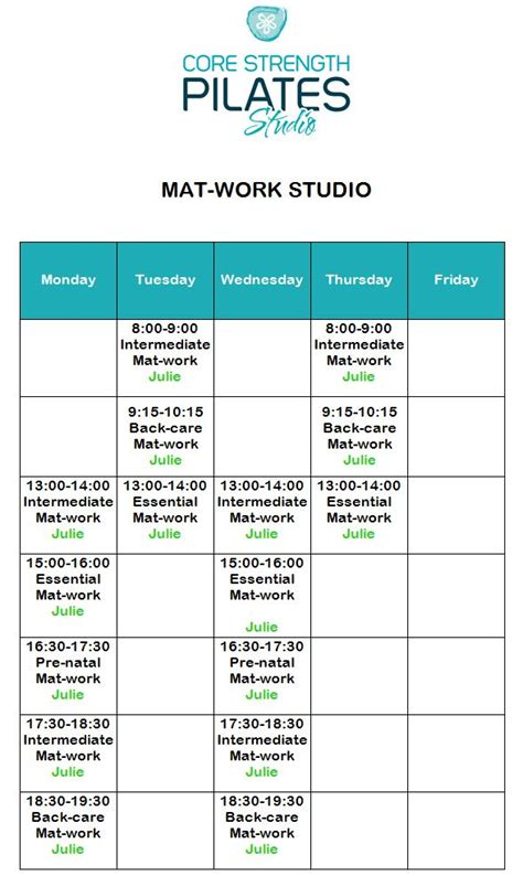 Mat Schedule schedule 187 strength pilates