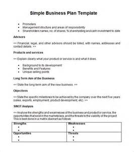 busniess plan template business plan template sle printable