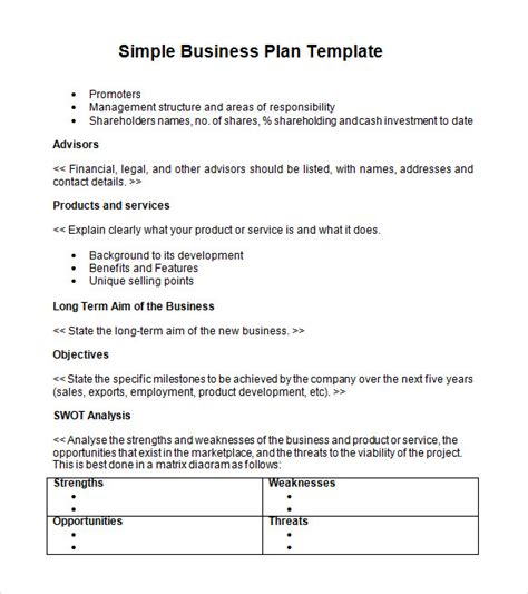 business template business plan template sle printable
