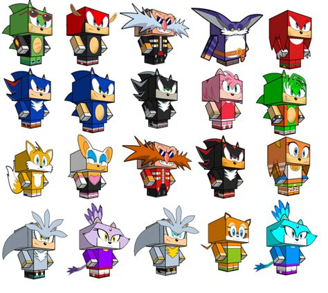 Sonic Papercraft - sonic x papercraft collection bigger than b4 by
