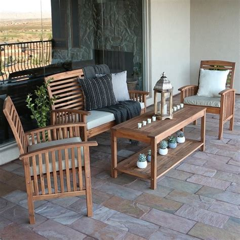 walker edison 4 wood patio set in brown with