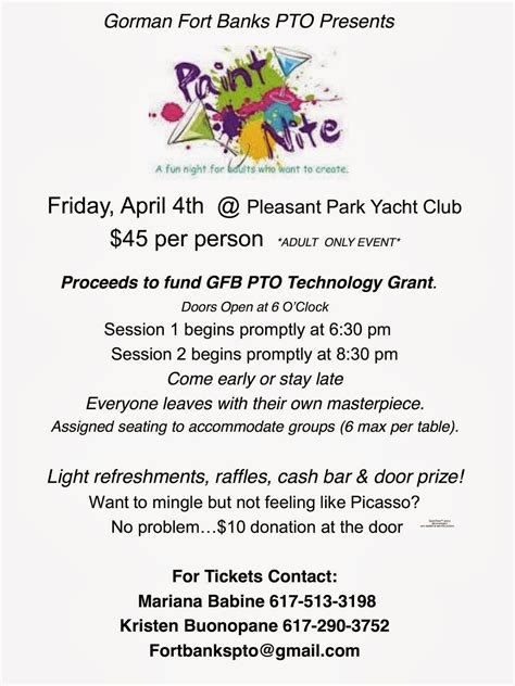 paint nite fundraiser william p gorman fort banks elementary school pto march 2014
