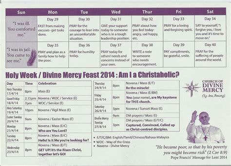 40 day calendar template 40 days lent holy week feast mercy calendar