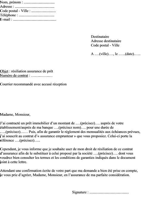 Lettre De R Siliation D Un Contrat mod 232 le lettre r 233 siliation contrat d assurance emprunteur