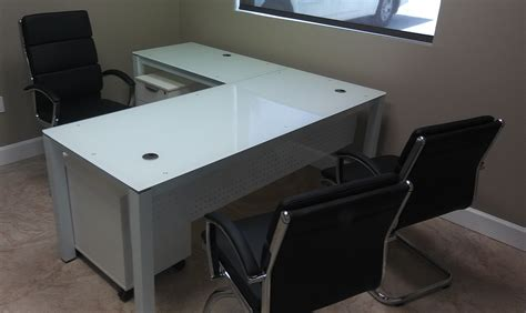 glass desk l shape glass l shape desk mad mund