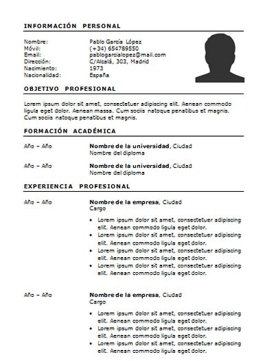 Plantilla De Curriculum Vitae Simple Curriculum Vitae Sencillo Y Simple Ejemplos Para Descargar