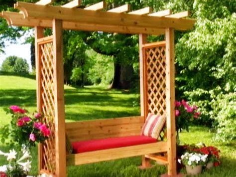building an arbor trellis corner arbor with bench plans 187 woodworktips