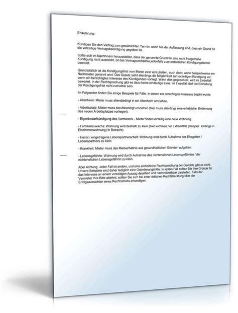 mietvertrag möblierte wohnung muster k 252 ndigung mietvertrag durch mieter muster zum