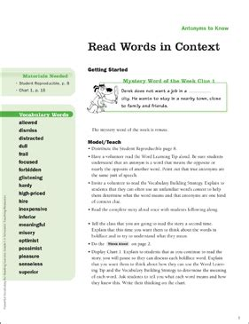 the open boat vocabulary exercise using context clues answers antonyms to know read words in context printable lesson