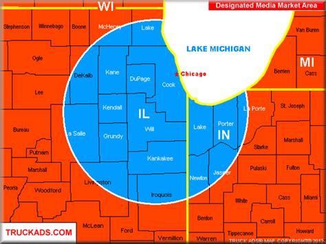 chicago dma map truck ads 174 chicago designated market map a d m a p