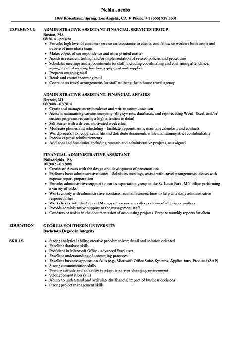 financial administrative assistant resume sles velvet