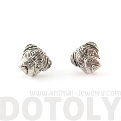 pug shaped pug shaped puppy theme stud earrings in silver on luulla
