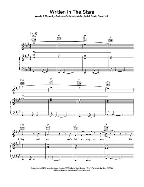 """Westlife """"Written In The Stars"""" Sheet Music PDF Notes"""