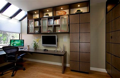 home office design with corner desk and stylish cabinets