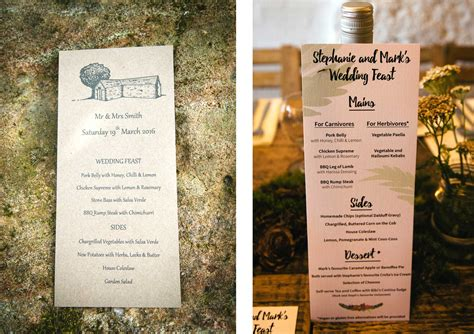 menu ideas wedding day menu ideas