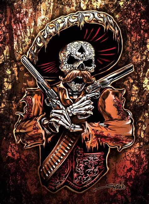 day of the dead gunslinger painting by michael spano