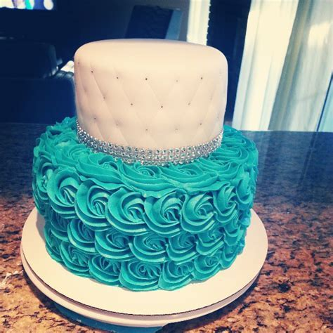 Pink Sugar Cupcakes: Teal Rosette Cake with Quilted Top Tier