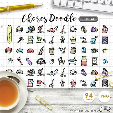 daily doodle shop digital clipart chores cleaning daily doodle handdrawn