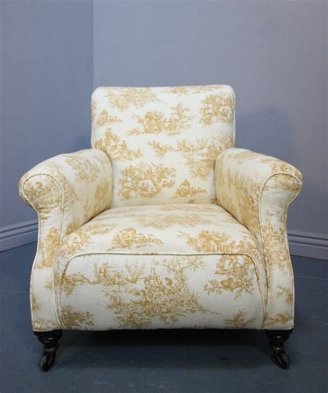 antique upholstered armchairs antique upholstered armchair in toile de jouy antiques atlas