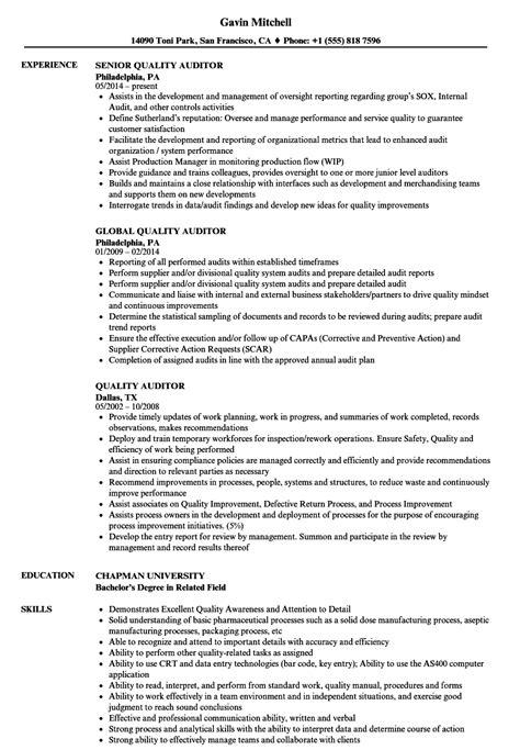 Quality Auditor Resume quality auditor resume sles velvet