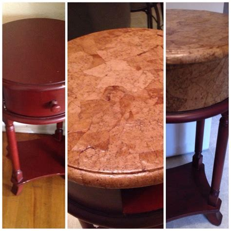 Decoupage Leather - so easy faux leather redo on table with brown paper bag