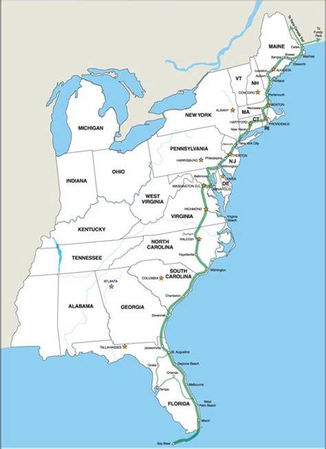 map us east coast major cities 2 east coast greenway alliance maine new hshire