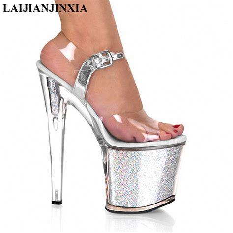 high heel platforms shoes laijianjinxia clear peep toe high heel platforms
