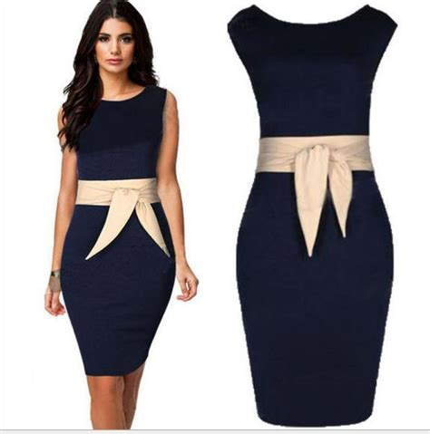 2017 Plus Size Formal Dresses Navy Dress With Champagne Belt Sleeveless Women Work Dress Knee